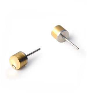 22 DESIGN STUDIO Earrings - Brass Mirror Cylinder (BMC)