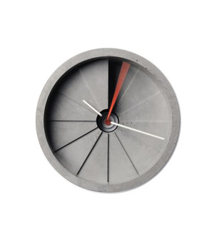 22 DESIGN STUDIO 4th Dimension - Concrete Wall Clock Red