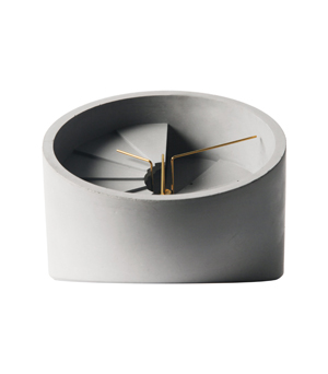22 DESIGN STUDIO 4th Dimension - Concrete Table Clock Gold