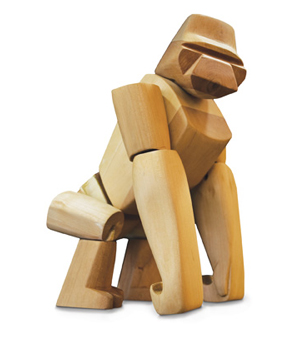AREAWARE Wooden Animal - Hanno the Gorilla
