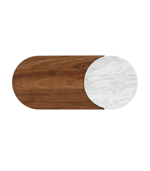 BOWER NYC Duo Server - Walnut & Light Marble