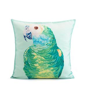 CHLOE CROFT LONDON Silk Cushion - Parrot Portrait