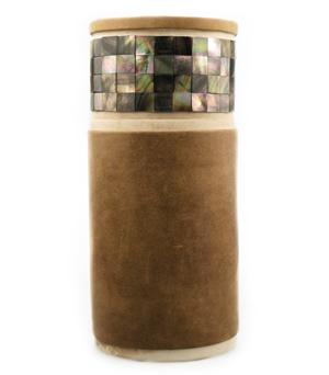 GILLES CAFFIER Vase w. Leather & Shell