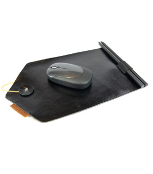 GOODJOB Mouse Pad & Pencil B-Mail - Leather Black