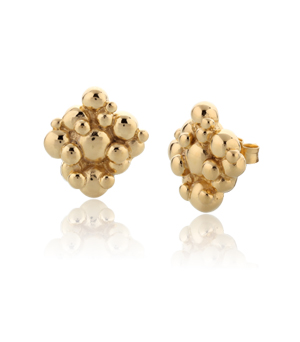 JESSICA AGGREY JEWELLERY Sterling Silver Earrings - Bubbles Stud (Gold Plated)