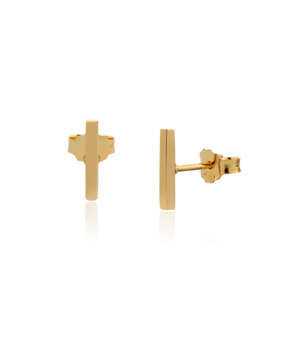 JESSICA AGGREY JEWELLERY Sterling Silver Earrings - Jen Post 10mm (Gold Plated)