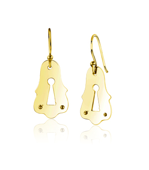 JESSICA AGGREY JEWELLERY Sterling Silver Earrings - Keyhole Large (Gold Plated)