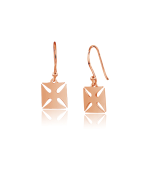 JESSICA AGGREY JEWELLERY Sterling Silver Earrings - Maltese Cross (Rose Gold Plated)