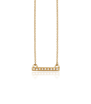 JESSICA AGGREY JEWELLERY Sterling Silver Necklace - Jen Bar Mini White CZ (Gold Plated)