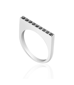 JESSICA AGGREY JEWELLERY Sterling Silver Ring - D Ring Black CZ