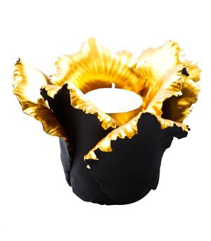 KIDDEE TAMDEE Daffodil Candle Holder - Black/Gold