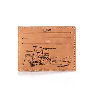 TAXIDERMY Leather Card Holder Wallet - Airplane Natural