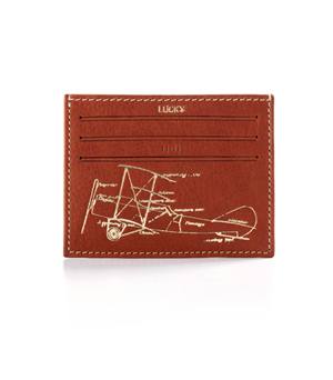 TAXIDERMY Leather Card Holder Wallet - Airplane Tan