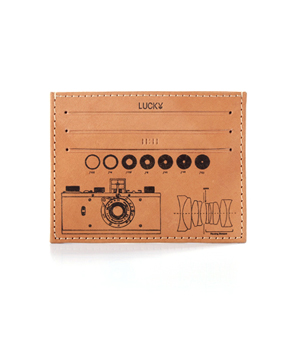 TAXIDERMY Leather Card Holder Wallet - Camera Natural