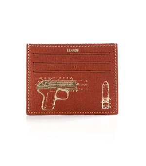 TAXIDERMY Leather Card Holder Wallet - Gun Tan
