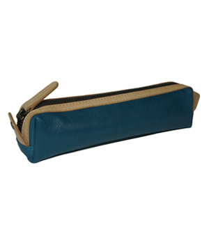 TAXIDERMY Leather Pen Case - Blue